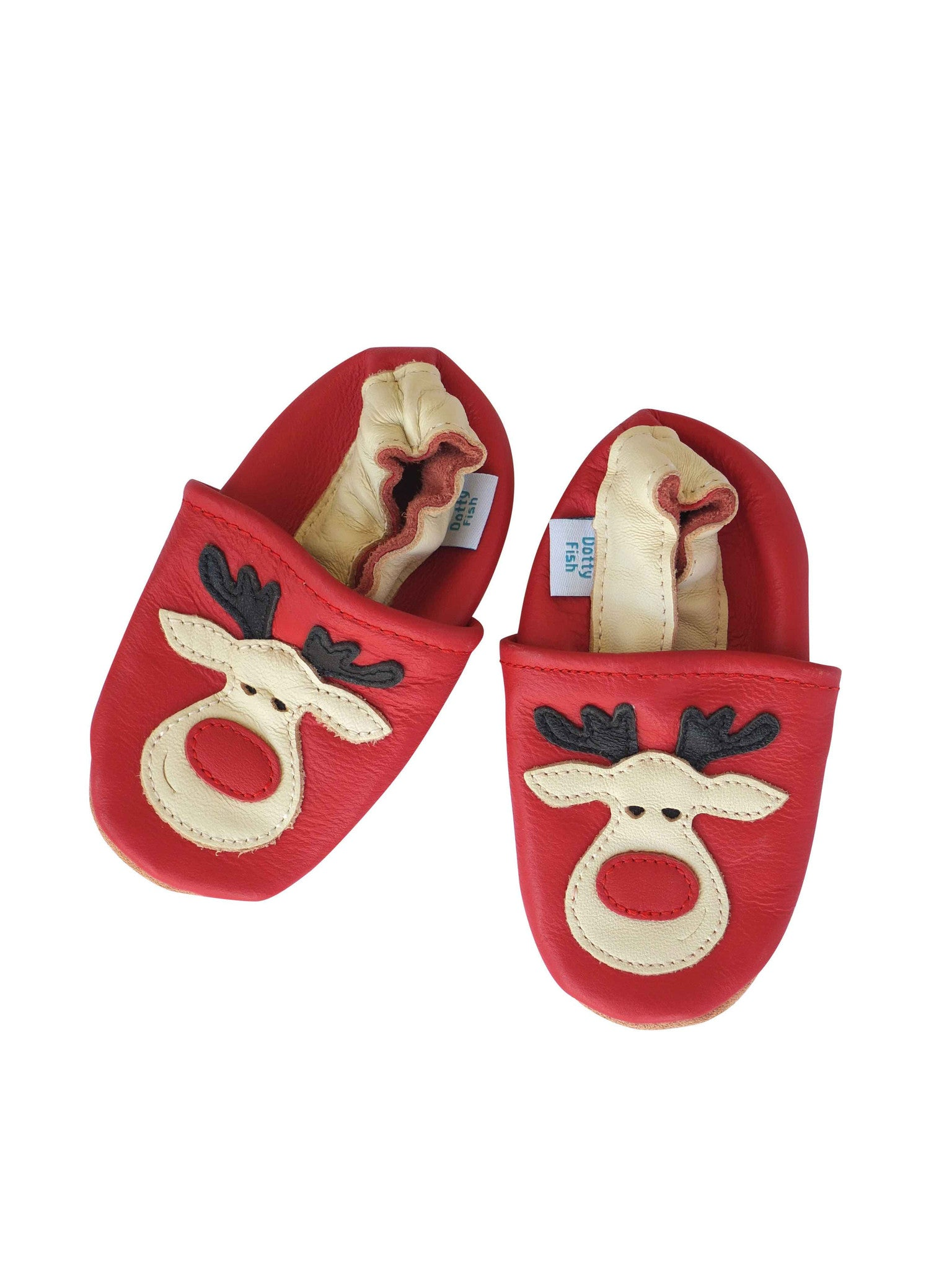 Unisex Soft Leather Elasticised Pram Shoes - Christmas Reindeer