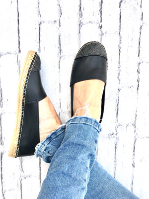 Midnight Leather with Glitter Toe Classic Espadrille