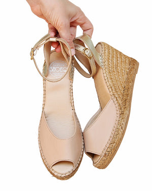 Sand Platinum Peep Toe Ankle Wedge
