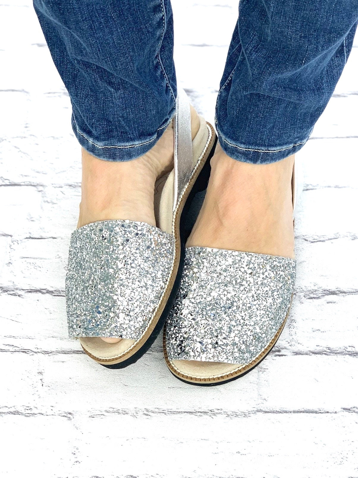 Silver Glitter Classic Orthotic Avarca