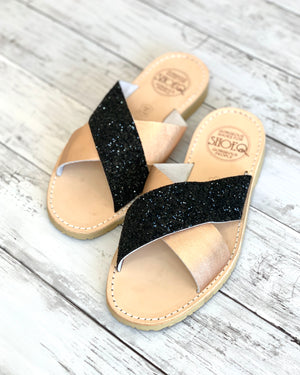 Midnight Rose Glitter Crossover Slide