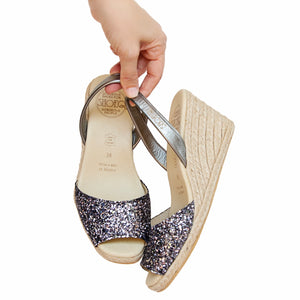 Gunmetal Glitter High Wedge
