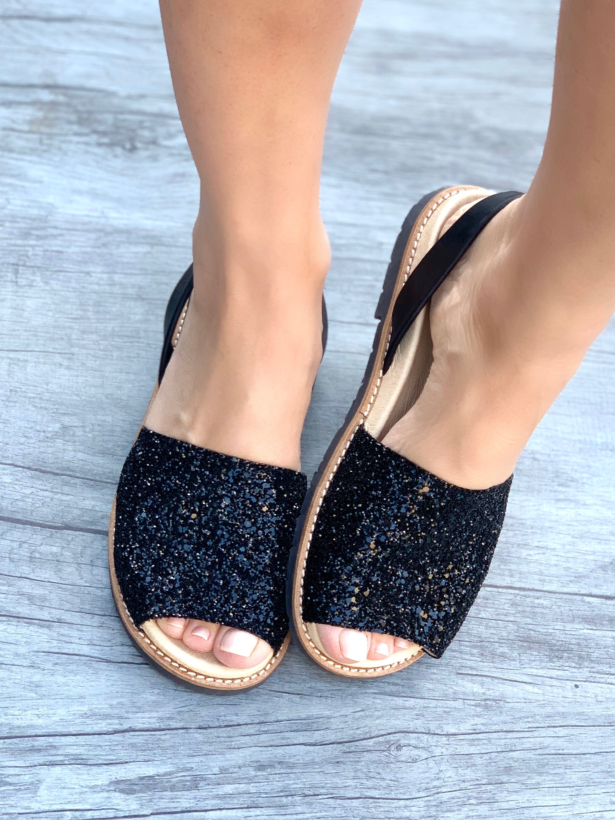 Midnight Glitter Peep Toe Orthotic Avarca