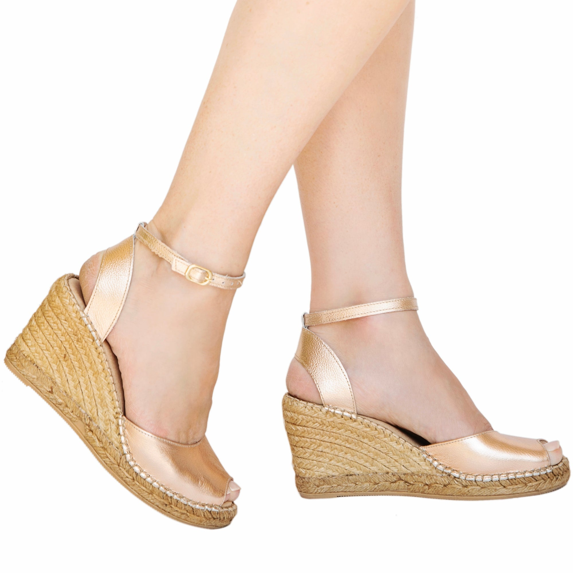 Rose Gold Peep Toe Ankle Wedge