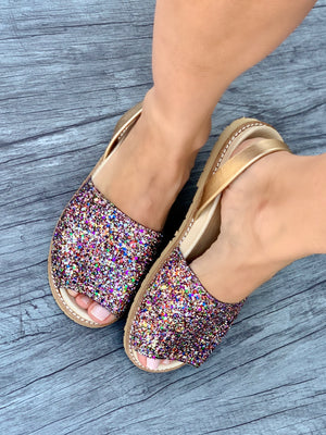Rainbow Gold Glitter Peep Toe Orthotic Avarca