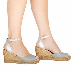 Grey Silver Peep Toe Wedge
