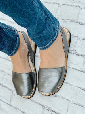 Metallic Pewter Classic Orthotic Avarca