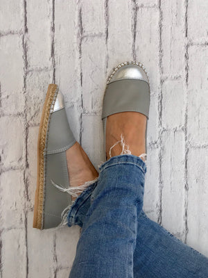 Grey Leather with Metallic Silver Toe Classic Espadrille