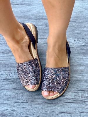 Pewter Glitter Peep Toe Orthotic Avarca