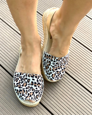 Leopard Champagne Micro Espadrille Wedge