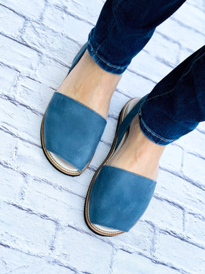 Navy Blue Leather Orthotic Avarca