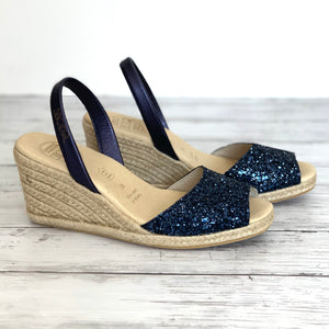 Navy Glitter High Espadrille Wedge