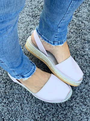 Blush Pink Micro Espadrille Wedge