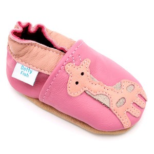 Girls Soft Leather Elasticised Pram Shoes - Pink Giraffe