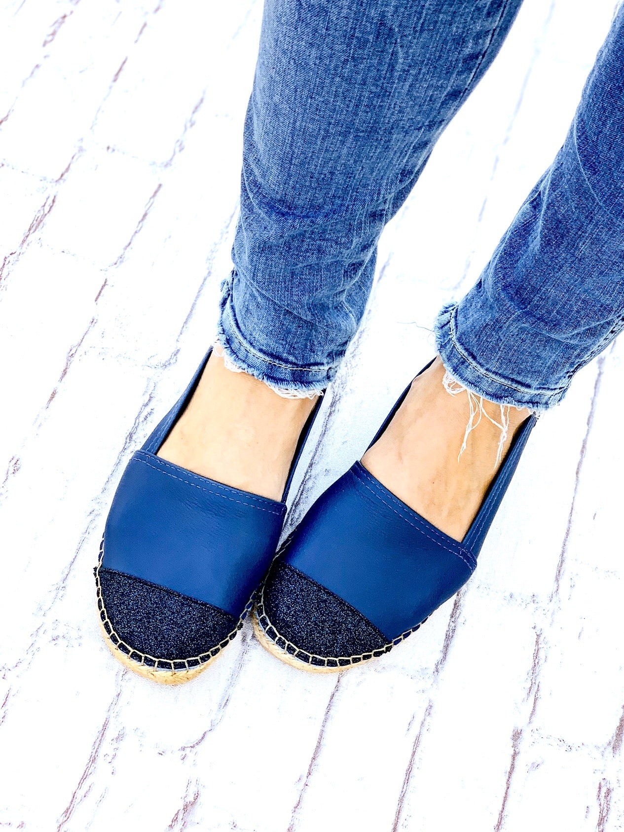 Navy Leather Glitter Toe Classic Espadrille