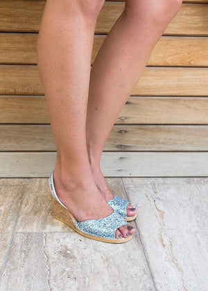 Silver Glitter Cork Wedge