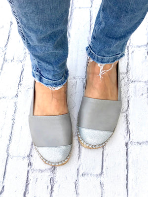 Grey Leather with Glitter Toe Classic Espadrille