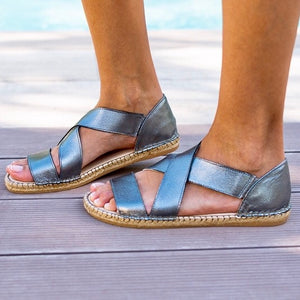 Metallic Pewter Beach Espadrille