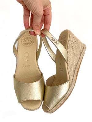 Champagne Metallic Espadrille Wedge