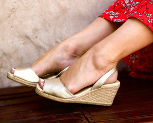 Champagne Metallic High Espadrille Wedge