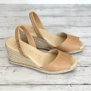 Caramel Leather High Espadrille Wedge
