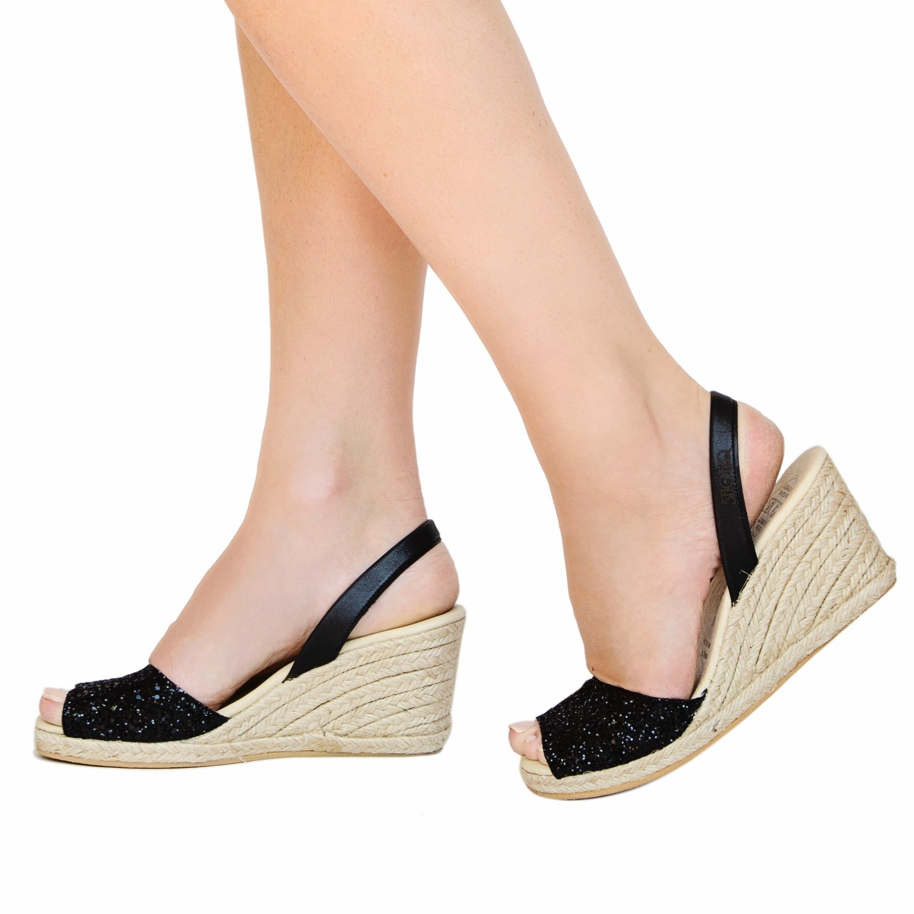Midnight Glitter Espadrille Wedge