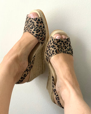 Dark Leopard High Espadrille Wedge