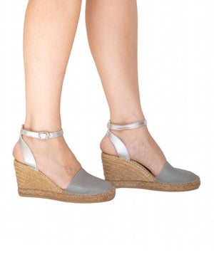 Grey Silver Closed Toe Espadrille Wedge