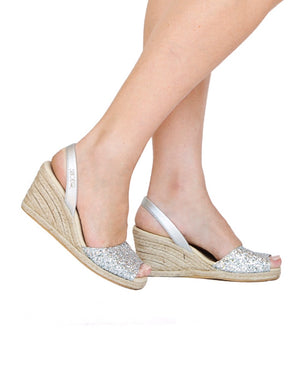 Silver Glitter High Wedge