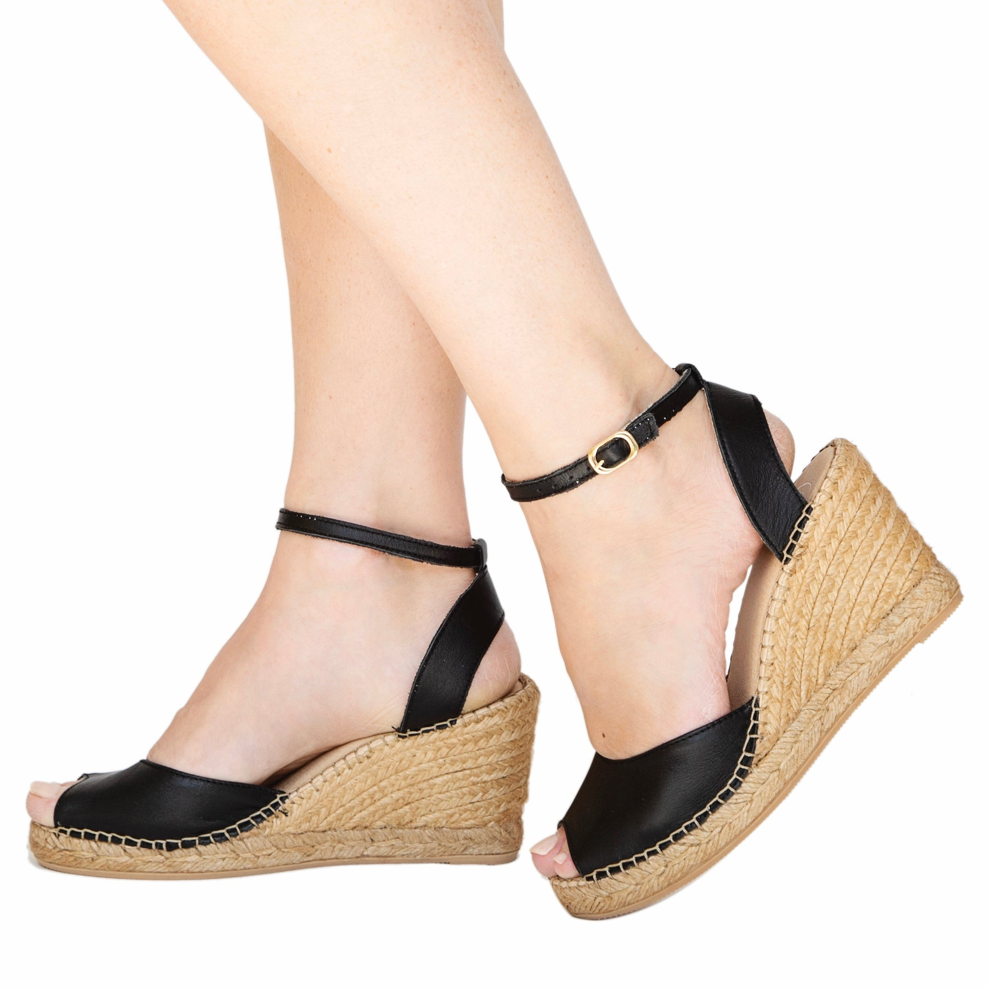 Midnight Peep Toe Ankle Wedge