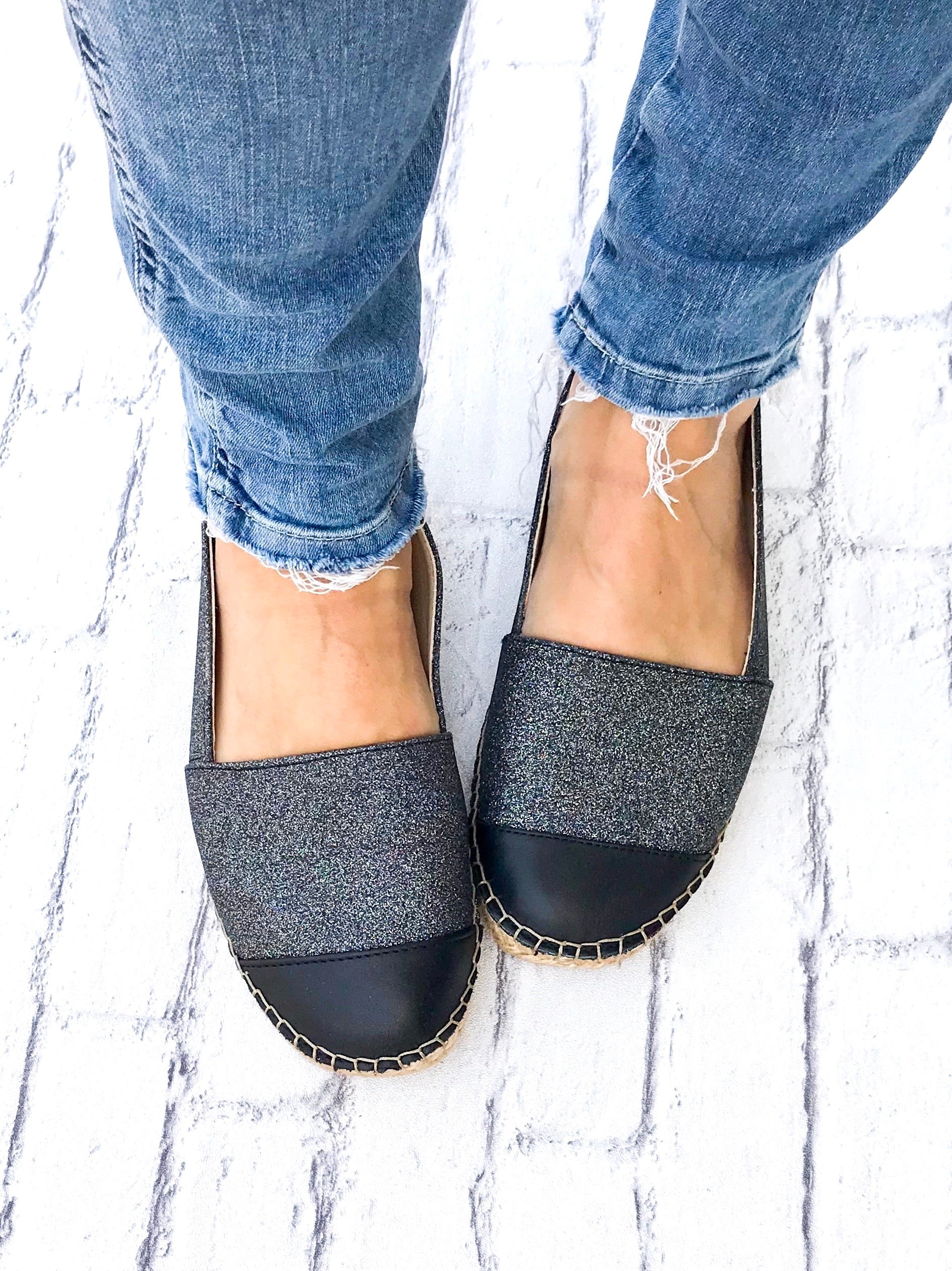 Midnight Glitter with Leather Toe Classic Espadrille