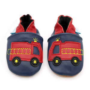 Boys Soft Leather Elasticised Pram Shoes - Fire