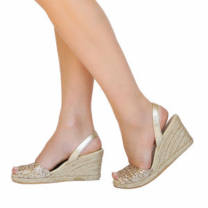 Champagne Glitter High Espadrille Wedge