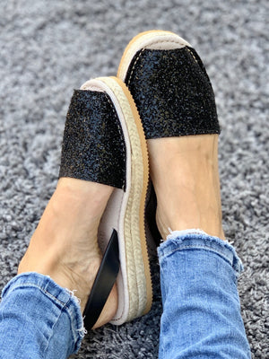 Midnight Glitter Micro Espadrille Wedge