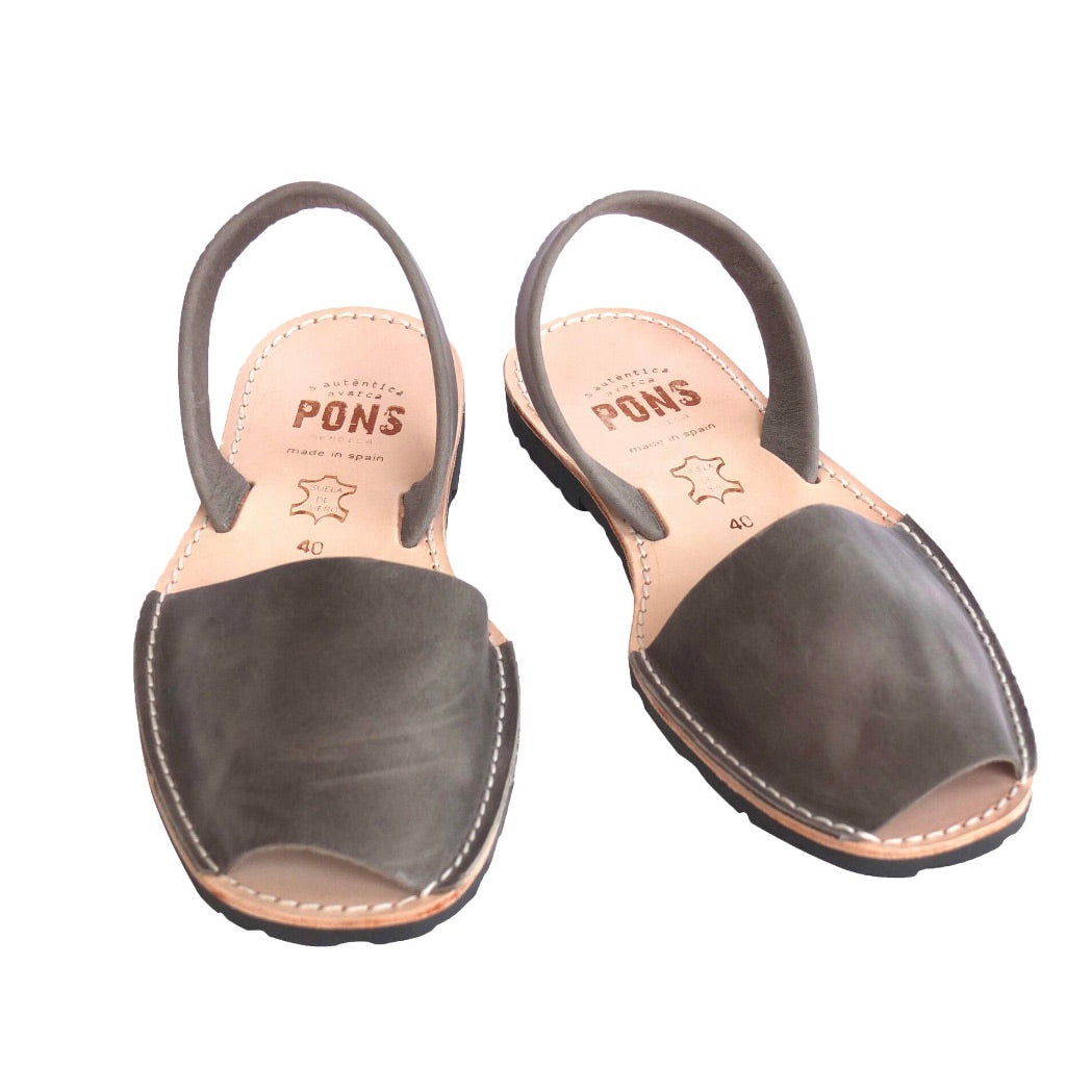 PONS Grey Leather Classic Avarca