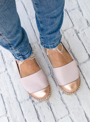Rose Leather Metallic Toe Classic Espadrille