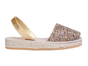 Rainbow Gold Glitter Micro Espadrille Wedge