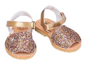 Toddler Rainbow Gold Glitter Avarca