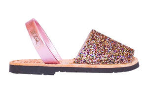 Girls Rainbow Pink Glitter Avarca