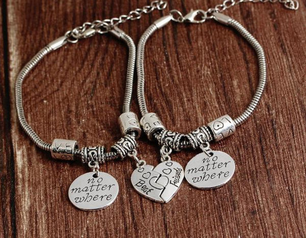 "Heart-Shaped ""Best Friends"" Couple Bracelets"