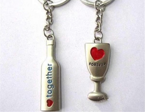 Wine Bottle Metal Couple Keychain