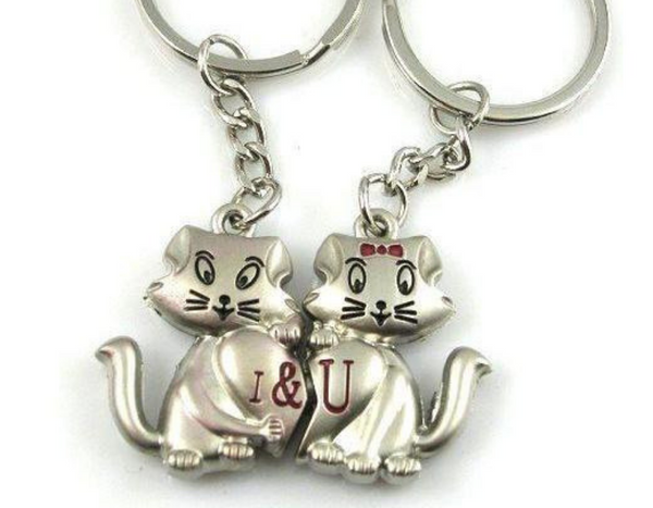 1 & U Cats Couple Keychain