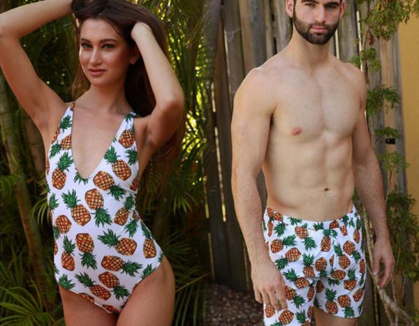 White Pineapple Fruit Couple Swimwear