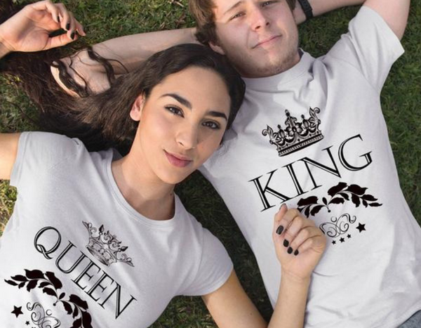 King Queen Crown Couple Shirts