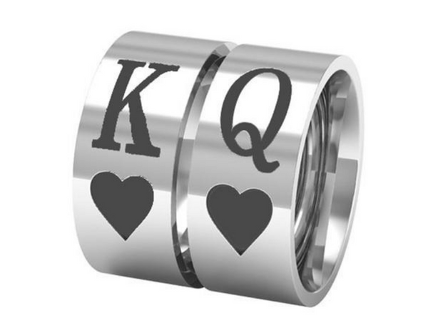 King Queen Heart Couple Rings