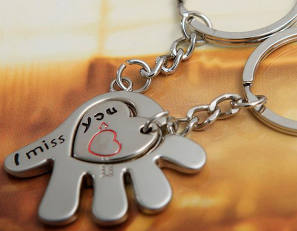 Hand in Hand I Miss You Couple Keychain