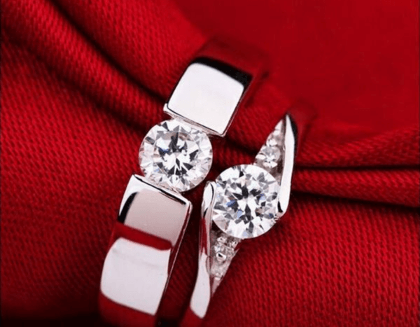 Platinum Crystal Couple Ring Set