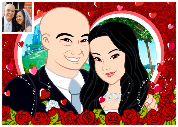 Couple Art Photo - Turn Your Photos Into CARTOON CHARACTERS - Cartoon Face 2 Persons - CoupleStuffs.com - Couple's Super Shop for Stuffs!
