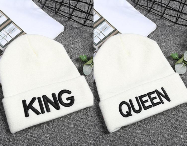White King Queen Couple Beanie