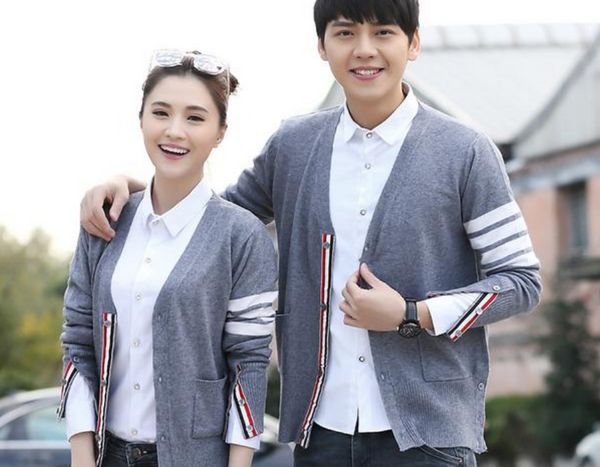 29267bebb0 Cardigan White Stripes Style Couple Sweater